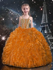 Simple Orange Red Organza Lace Up Straps Sleeveless Floor Length Party Dress Beading and Ruffles