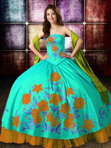 Multi-color Ball Gowns Strapless Sleeveless Satin Floor Length Lace Up Embroidery Ball Gown Prom Dress