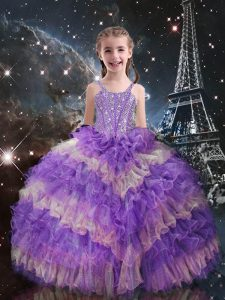 Custom Fit Floor Length Lilac Kids Pageant Dress Straps Sleeveless Lace Up
