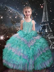 Turquoise Organza Lace Up Casual Dresses Sleeveless Floor Length Beading and Ruffled Layers