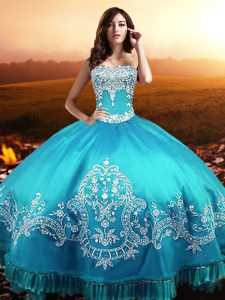Aqua Blue Sweetheart Neckline Beading and Appliques Vestidos de Quinceanera Sleeveless Lace Up