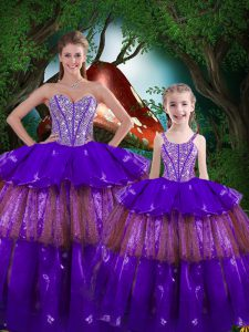 Edgy Eggplant Purple Organza Lace Up Quinceanera Dresses Sleeveless Floor Length Beading and Ruffled Layers