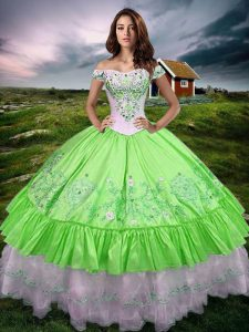 Dynamic Sleeveless Floor Length Beading and Embroidery and Ruffled Layers Lace Up Sweet 16 Dresses