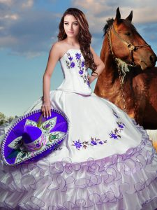 New Arrival White Lace Up Strapless Embroidery and Ruffled Layers Sweet 16 Dresses Taffeta Sleeveless