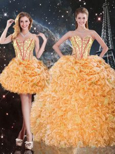 Orange Three Pieces Sweetheart Sleeveless Organza Floor Length Lace Up Beading and Ruffles Quinceanera Gowns