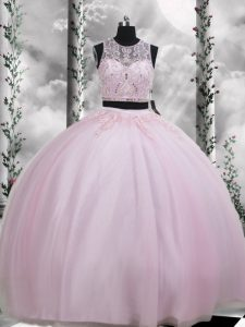 Floor Length Baby Pink Sweet 16 Dresses Tulle Sleeveless Beading and Appliques