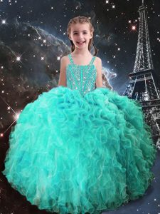 Turquoise Organza Lace Up Kids Formal Wear Sleeveless Floor Length Beading and Ruffles
