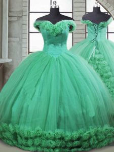 New Arrival Fabric With Rolling Flowers Sleeveless Quince Ball Gowns Brush Train and Hand Made Flower
