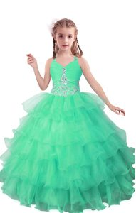 Superior Turquoise Sleeveless Floor Length Beading and Ruffled Layers Zipper Little Girls Pageant Dress Wholesale