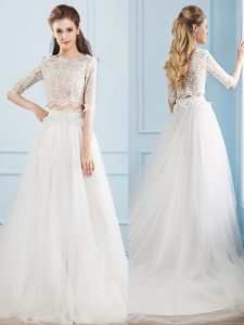 Gorgeous Half Sleeves Lace Zipper Wedding Dress with White Court Train