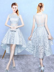 Superior High Low Light Blue Court Dresses for Sweet 16 Lace Sleeveless Lace