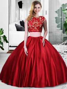 On Sale Wine Red Taffeta Zipper Scoop Sleeveless Floor Length Quinceanera Dress Lace and Ruching