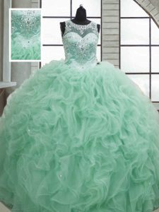 Apple Green Ball Gowns Beading and Ruffles Ball Gown Prom Dress Lace Up Organza Sleeveless Floor Length