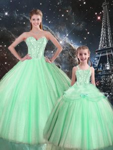 Flirting Apple Green Quinceanera Gowns Military Ball and Sweet 16 and Quinceanera with Beading Sweetheart Sleeveless Lace Up