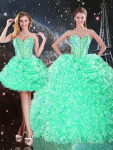 Most Popular Floor Length Lace Up 15 Quinceanera Dress Apple Green for Military Ball and Sweet 16 and Quinceanera with Beading and Ruffles