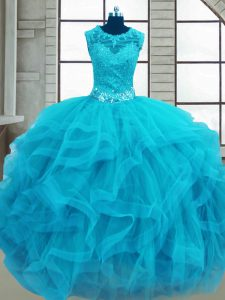 Ball Gowns Quince Ball Gowns Baby Blue Scoop Tulle Sleeveless Floor Length Lace Up