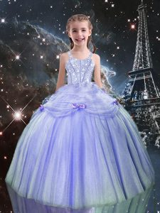 Lilac Tulle Lace Up Pageant Gowns For Girls Sleeveless Floor Length Beading