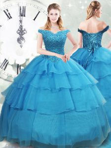 Ball Gowns Sleeveless Baby Blue Sweet 16 Dress Brush Train Lace Up