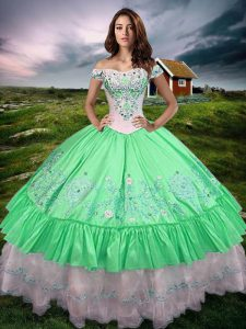 Green Sleeveless Floor Length Beading and Embroidery and Ruffled Layers Lace Up Quinceanera Dresses