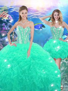 Cute Sweetheart Sleeveless Vestidos de Quinceanera High Low Beading and Ruffles Turquoise Organza