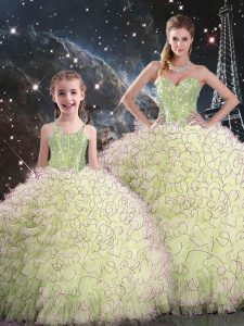 Best Yellow Green Sleeveless Floor Length Beading and Ruffles Lace Up 15 Quinceanera Dress