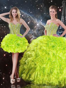Beading and Ruffles Vestidos de Quinceanera Yellow Green Lace Up Sleeveless Floor Length