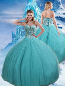 Exquisite Aqua Blue Ball Gowns Tulle Sweetheart Sleeveless Beading and Sequins Floor Length Lace Up Sweet 16 Dresses