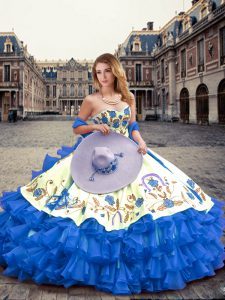Ideal Blue Sleeveless Organza Lace Up Quinceanera Dresses for Military Ball and Sweet 16 and Quinceanera