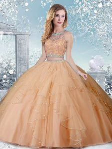 Glamorous Scoop Sleeveless Clasp Handle 15 Quinceanera Dress Champagne Tulle