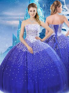 Super Blue Lace Up Quince Ball Gowns Beading Sleeveless Floor Length