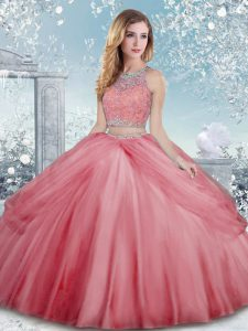 Watermelon Red Clasp Handle Quinceanera Gowns Beading Sleeveless Floor Length