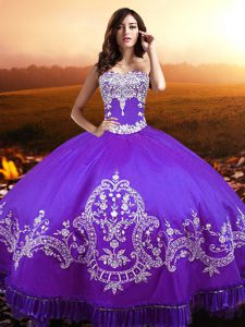 Romantic Floor Length Purple Quinceanera Dress Sweetheart Sleeveless Lace Up