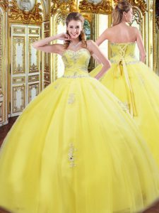 Traditional Sleeveless Lace Up Floor Length Beading and Appliques Quinceanera Dress