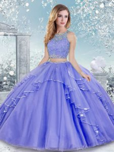 Sophisticated Floor Length Lavender Ball Gown Prom Dress Scoop Sleeveless Clasp Handle
