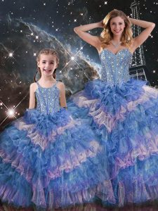 Hot Selling Multi-color Sleeveless Floor Length Beading and Ruffled Layers Lace Up Quinceanera Gowns