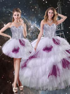 Tulle Sweetheart Sleeveless Zipper Beading and Ruffled Layers and Sequins Quince Ball Gowns in Multi-color