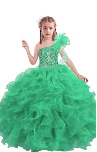 Apple Green Ball Gowns One Shoulder Sleeveless Organza Floor Length Lace Up Beading and Ruffles Kids Pageant Dress