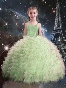 Floor Length Yellow Green Little Girl Pageant Dress Organza Sleeveless Beading and Ruffles