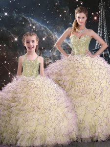 Spectacular Beading and Ruffles 15th Birthday Dress Light Yellow Lace Up Sleeveless Floor Length