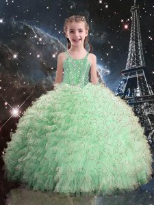 Floor Length Apple Green Kids Formal Wear Straps Sleeveless Lace Up