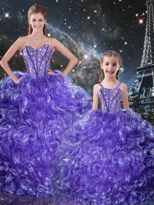 Delicate Purple Ball Gowns Beading and Ruffles 15 Quinceanera Dress Lace Up Organza Sleeveless Floor Length
