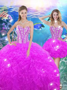 Fashion Fuchsia Ball Gowns Organza Sweetheart Sleeveless Beading and Ruffles Floor Length Lace Up 15 Quinceanera Dress