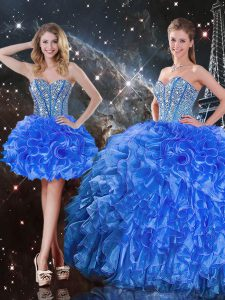 Trendy Sleeveless Floor Length Beading and Ruffles Lace Up Sweet 16 Dress with Royal Blue