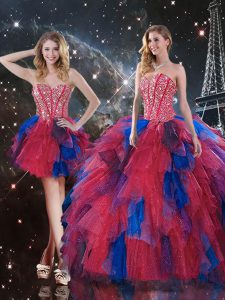 Cute Multi-color Sleeveless Beading and Ruffles Floor Length Quince Ball Gowns