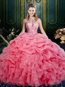 Watermelon Red Lace Up Halter Top Beading and Ruffles and Pick Ups Quinceanera Gowns Organza Sleeveless