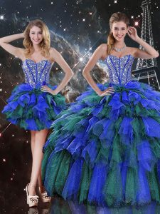 Amazing Floor Length Lace Up Quinceanera Gowns Multi-color for Military Ball and Sweet 16 and Quinceanera with Beading and Ruffles and Ruffled Layers