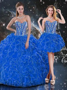Sweetheart Sleeveless Lace Up 15th Birthday Dress Blue Organza