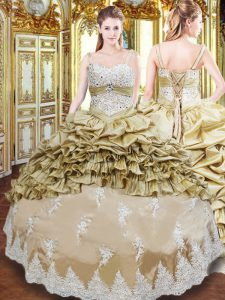 Fine Champagne Sleeveless Taffeta Lace Up Quinceanera Gown for Military Ball and Sweet 16 and Quinceanera