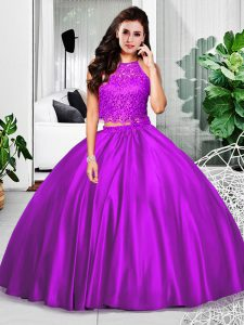 High Quality Lace and Ruching 15 Quinceanera Dress Eggplant Purple Zipper Sleeveless Floor Length