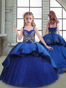 Trendy Sleeveless Taffeta and Tulle Brush Train Lace Up Little Girls Pageant Dress Wholesale in Royal Blue with Embroidery